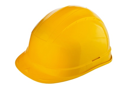 Yellow helmet isolated on white photo