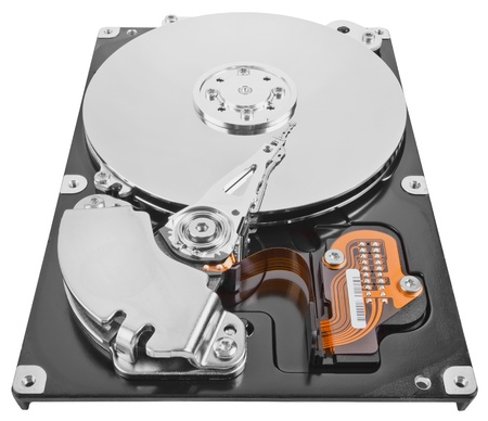 Computer hard drive isolated on white. photo
