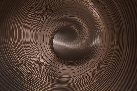 tortuous: inside metallic tunnel Stock Photo