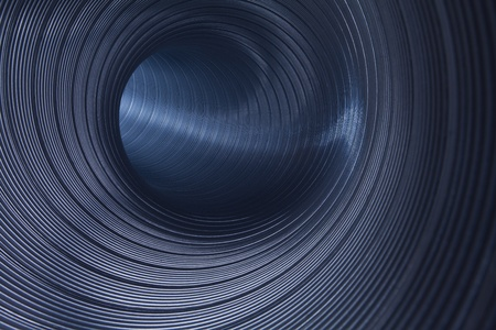 goffer: inside metallic tunnel Stock Photo