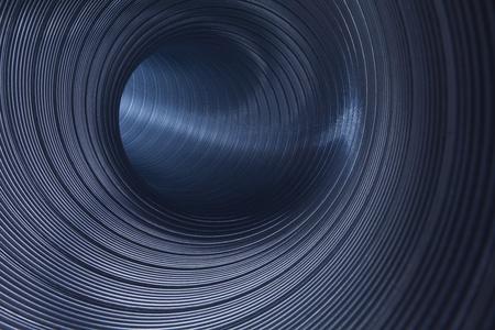 ventilation: inside metallic tunnel Stock Photo