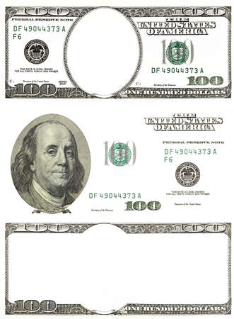 fifty dollar bill: set of original detail dollars isolated on white background Stock Photo