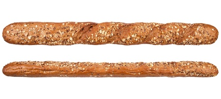 Long loaf. French bread with many different seeds isolated on the white background.  Rye bread photo