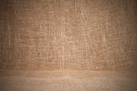 Close-up of natural burlap hessian sacking. Background texture using burlap material. photo