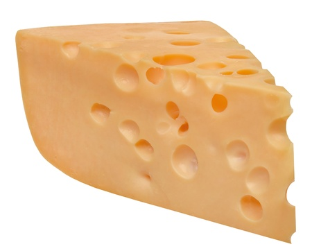 cheez: Piece of swiss cheese. The perfect piece of swiss cheese isolated on the white background with Clipping Path.  Stock Photo