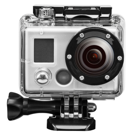 skydive: underwater exteram camera isolated on white background Stock Photo