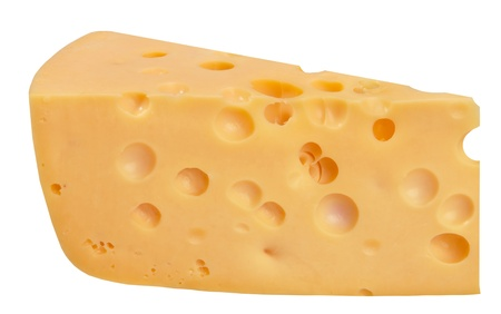 cheez: The perfect pieces of swiss cheese isolated on white background with clipping path Stock Photo