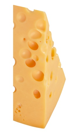 The perfect pieces of swiss cheese isolated on white background with clipping path photo