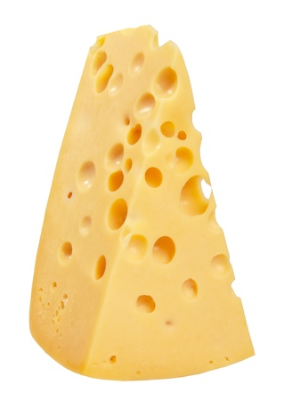 emmental: The perfect piece of swiss cheese isolated on white background with clipping path