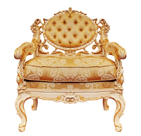 antique chair: Luxurious armchair isolated on the white background + clipping path