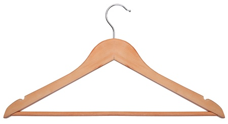 Wooden hanger isolated on a white background Stock Photo
