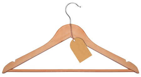 coat hanger: Wooden hanger + tag isolated on a white background Stock Photo