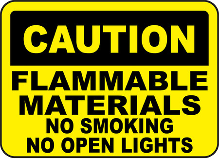 Caution flammable materials no smoking no open lights Иллюстрация
