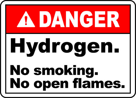 Danger hydrogen no smoking no open flames
