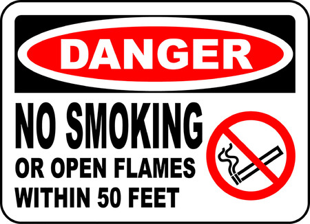 Danger no smoking or open flames within 50 feet