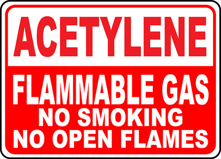 Acetylene flammable gas no smoking no open flames 向量圖像
