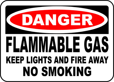 Danger flammable gas lights and fire away no smoking Illusztráció