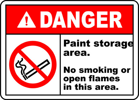 Danger paint storage area no smoking or open flames in this area