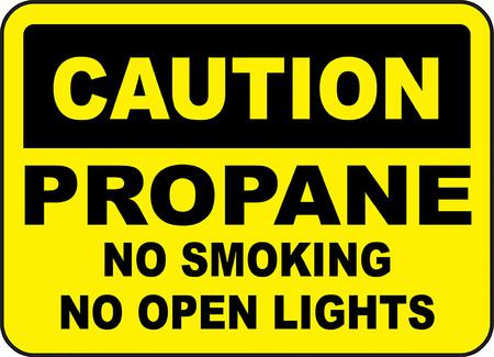 Caution propane no smoking no open lights 向量圖像