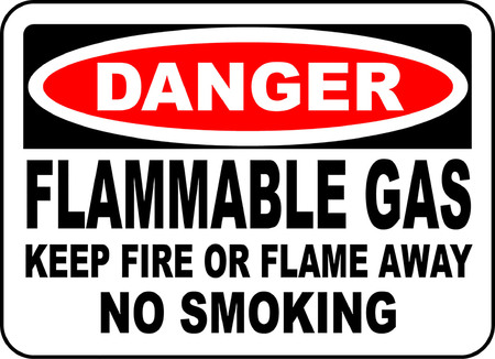 danger flammable gas keep fire or flame away no smoking 向量圖像
