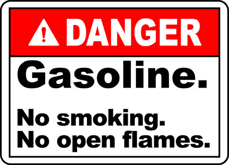 Danger gasoline no smoking no open flames