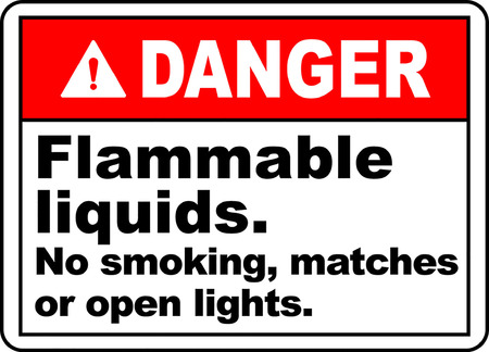 Danger flammable liquids no smoking matches or open lights
