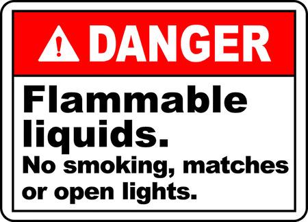 Danger flammable liquids no smoking matches or open lights 版權商用圖片 - 95353443