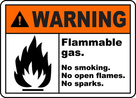Warning flammable gas no smoking no opne flames no sparks