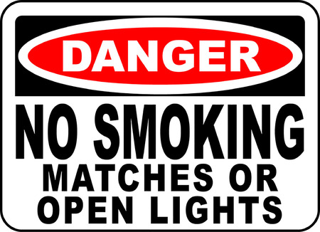 Danger no smoking matches or open lights typography illustration.