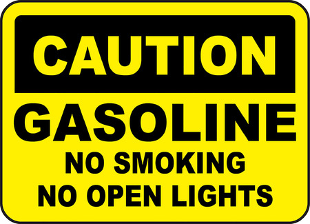 Caution, Gasoline, No smoking No open lights typography illustration in yellow background. Иллюстрация