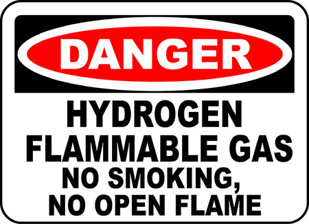 Danger! Hydrogen flammable gas, No smoking, No open flame typography illustration in white background. Ilustração