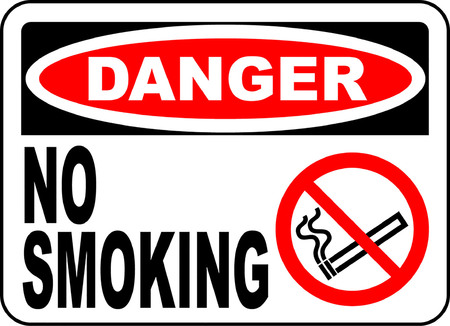 Danger! No smoking typography illustration  with picture sign in white background.  イラスト・ベクター素材