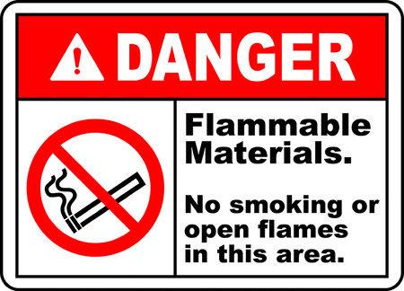 Danger! Flammable materials, No smoking or open flames in this area typography illustration with picture in white background.