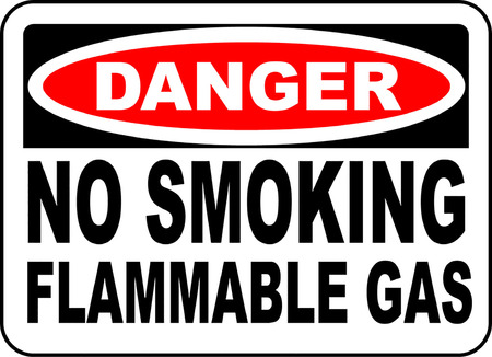 Danger! No smoking, flammable gas typography illustration in white background.