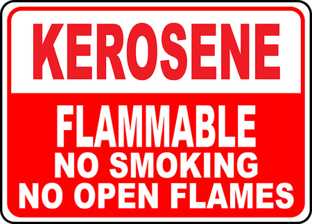 Kerosene, Flammable, No smoking No open flames typography illustration in red background. Illusztráció