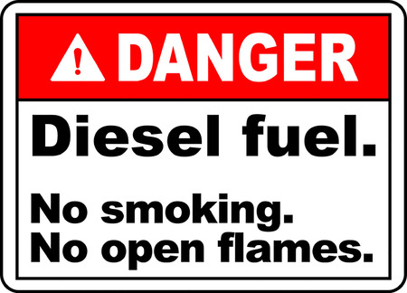 Danger! Diesel fuel, No smoking No open flames typography illustration in white background.