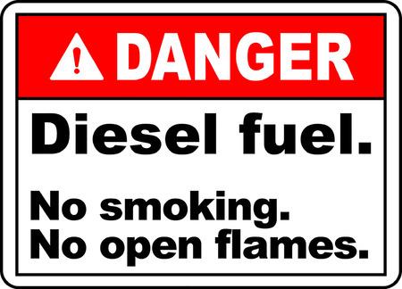 Danger! Diesel fuel, No smoking No open flames typography illustration in white background. 版權商用圖片 - 95352154