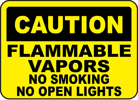 Cautio, Flammable vapors, No smoking, No open lights typography illustration in yellow background.