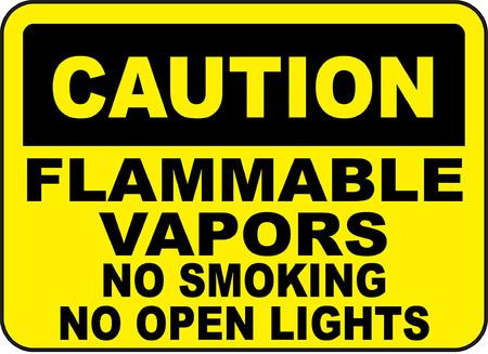 Cautio, Flammable vapors, No smoking, No open lights typography illustration in yellow background. 版權商用圖片 - 95352153