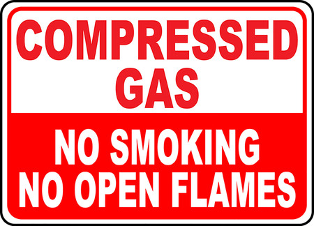 Compressed gas, No smoking, No open flames  typography illustration.