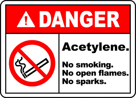 Danger acetylene, No smoking, No open flames, No sparks typography illustration with picture in white background. 向量圖像