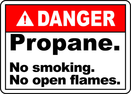 Danger propane, No smoking, No open flames typography illustration in white background. Illusztráció
