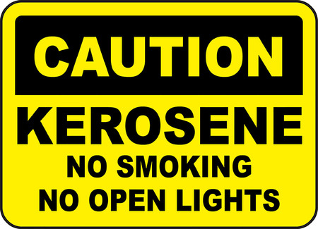 Caution! Kerosene, No smoking, No open lights typography illustration in yellow background. 向量圖像