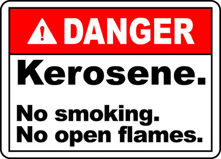 Danger! Kerosene, No smoking, No open flames typography illustration in white background.