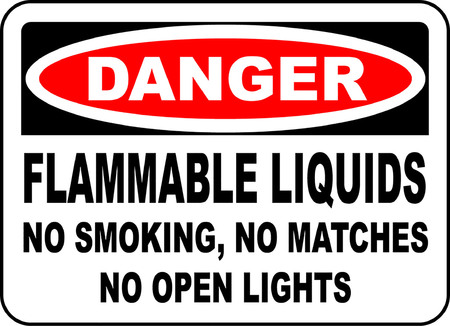 Danger! Flammable liquids, No smoking, No matches, No open lights typography illustration in white background.