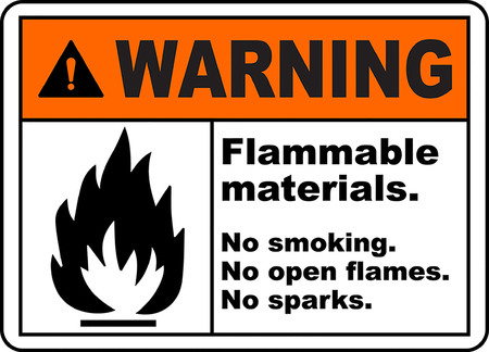 Warning flammable materials no smoking no open flames no sparks.