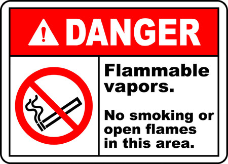 Danger flammable vapors no smoking or open flames in this area. 向量圖像