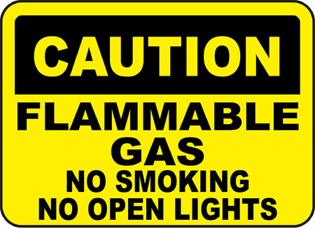 caution flammable gas no smoking no open lights