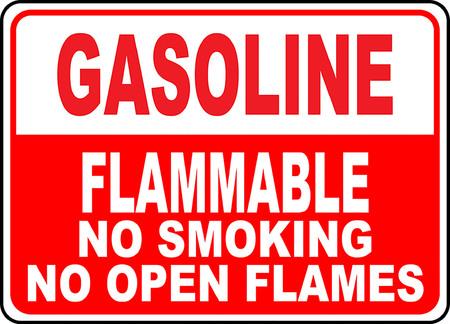 Gasoline flammable no smoking no open flames