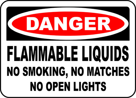 Danger flammable liquids no smoking no matches no open lights.